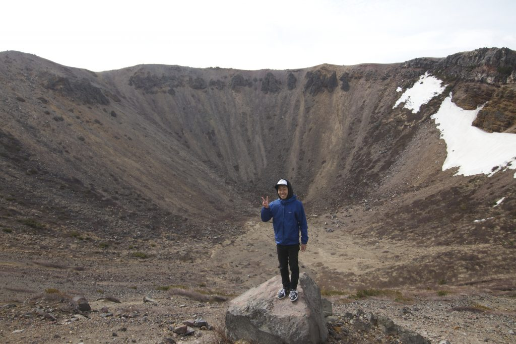 Nori is small, this volcano crater is big!